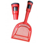 Pet Life Poopin-Scoopin Dog And Cat Pooper Scooper Litter Shovel With Built-In Waste Bag Handle Holster: One Size, Red