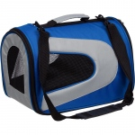 Pet Life Airline Approved Folding Zippered Sporty Mesh Pet Carrier: Medium, Blue & Grey