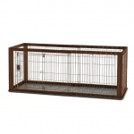 "Richell Expandable Pet Crate with Floor Tray Small Brown 35.4"" - 60.6"" x 23.6"" x 24"""